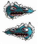 SMALL Long Pair Ripped Metal Design With Cute Funny Blue Monster Motif Vinyl Car Sticker 73x41mm